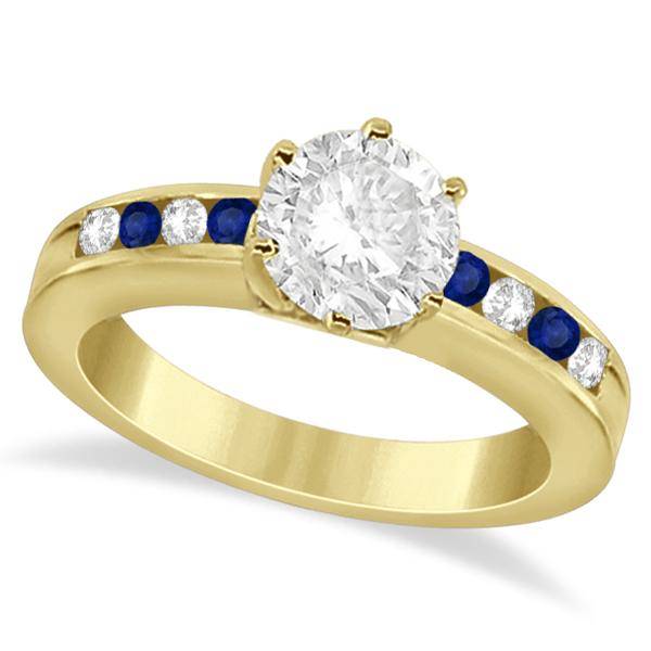 Semi-Eternity Blue Sapphire Gem Bridal Set 14K Yellow Gold (0.96ct)
