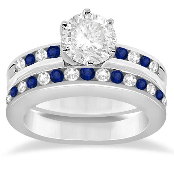 Semi-Eternity Blue Sapphire Gem Bridal Set 18K White Gold (0.96ct)