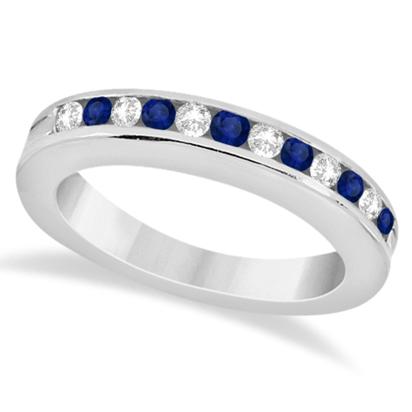 Semi-Eternity Blue Sapphire Gem Bridal Set Palladium (0.96ct)
