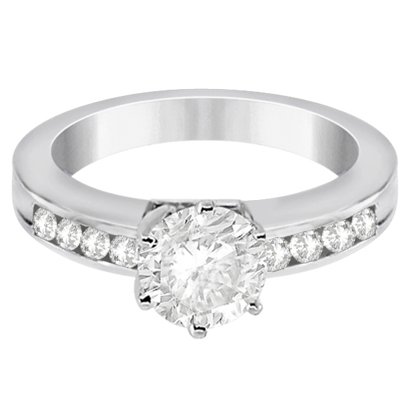 Classic Channel Set Diamond Bridal Ring & Band Palladium Set (0.72ct)