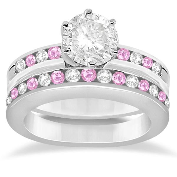Semi-Eternity Pink Sapphire Gem Bridal Set 14K White Gold (0.96ct)