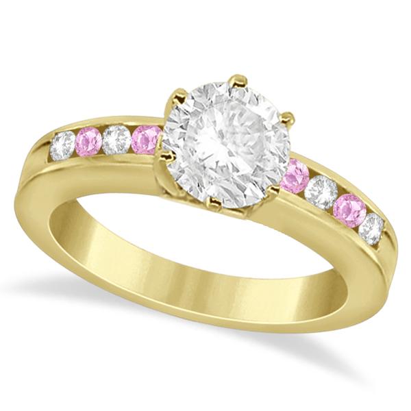 Semi-Eternity Pink Sapphire Gem Bridal Set 14K Yellow Gold (0.96ct)