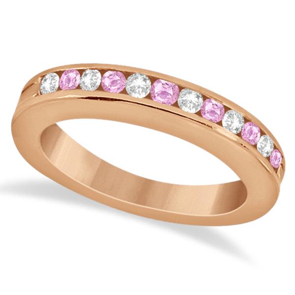 Semi-Eternity Pink Sapphire Gem Bridal Set 18K Rose Gold (0.96ct)
