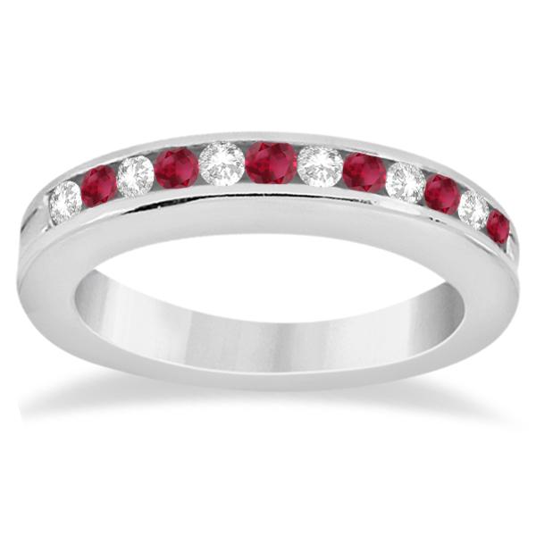 Semi-Eternity Ruby Gemstone & Diamond Bridal Set 18K White Gold 0.96ct