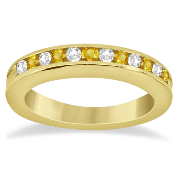 Semi-Eternity Yellow Sapphire Gem Bridal Set 14K Yellow Gold (0.96ct)