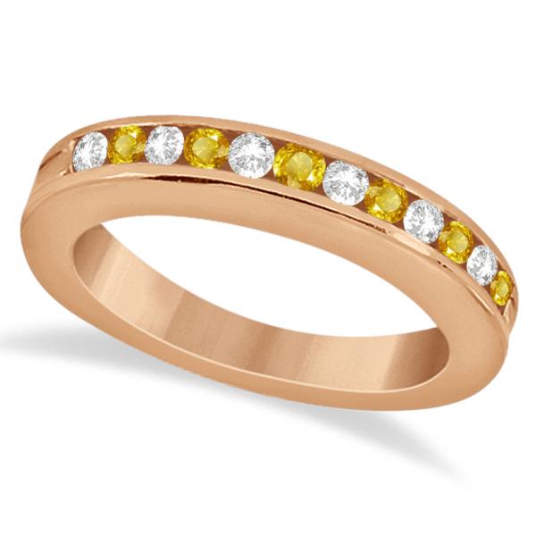 Semi-Eternity Yellow Sapphire Gem Bridal Set 18K Rose Gold (0.96ct)