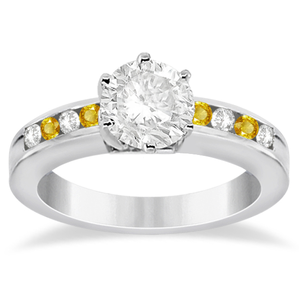 Semi-Eternity Yellow Sapphire Gem Bridal Set 18K White Gold (0.96ct)