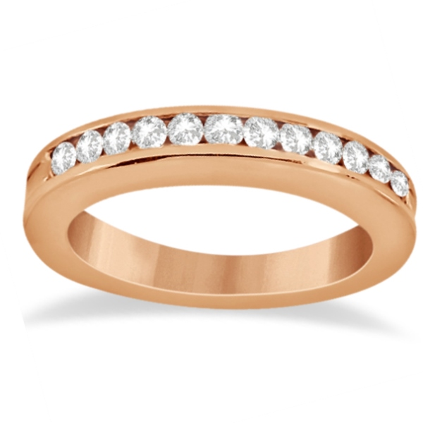 Classic Channel Set Diamond Wedding Band 18K Rose Gold (0.42ct)