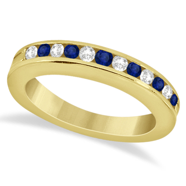 Semi-Eternity Diamonds & Blue Sapphire Wedding Band 14K Y. Gold 0.56ct
