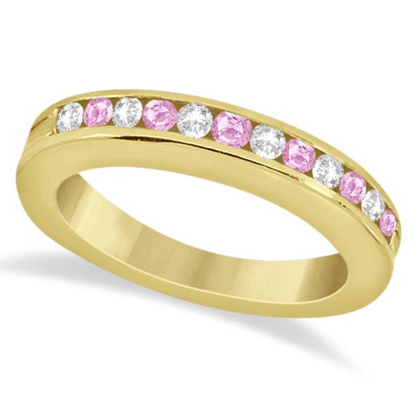 Semi-Eternity Pink Sapphire Wedding Band 14K Yellow Gold (0.56ct)