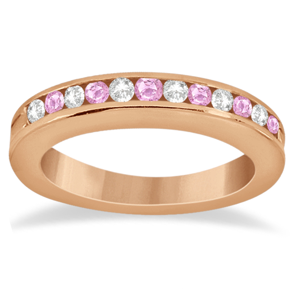 Semi-Eternity Pink Sapphire Wedding Band 18K Rose Gold (0.56ct)