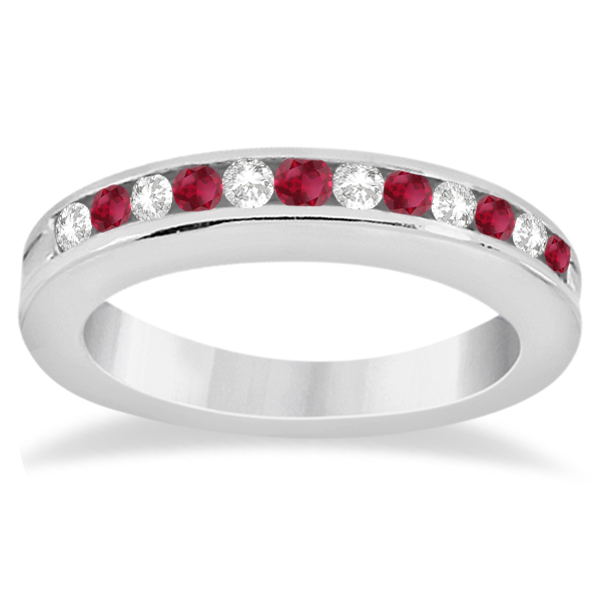 Semi-Eternity Ruby & Diamond Wedding Band in Palladium (0.56ct)