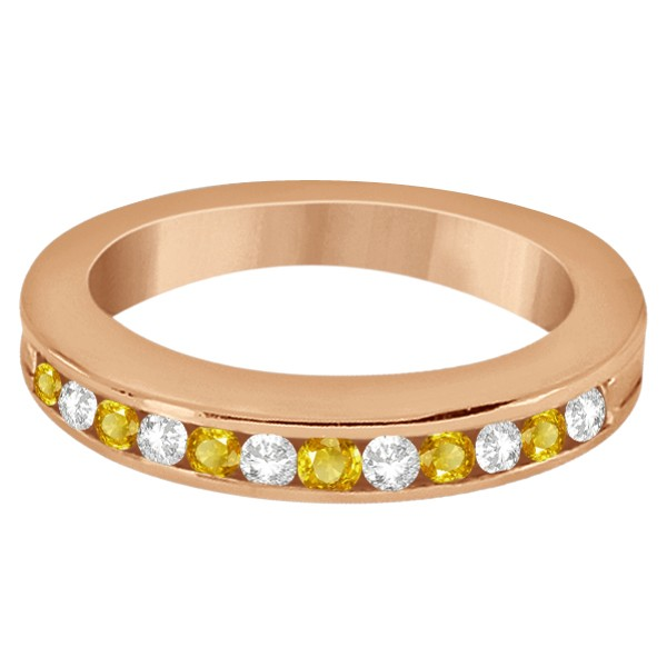 Semi-Eternity Yellow Sapphire Wedding Band 14K Rose Gold (0.56ct)