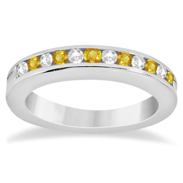 Semi-Eternity Yellow Sapphire Wedding Band 14K White Gold (0.56ct)
