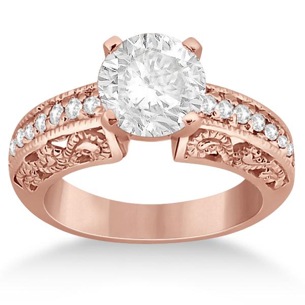 Vintage Filigree Diamond Engagement Ring 14K Rose Gold (0.32ct)