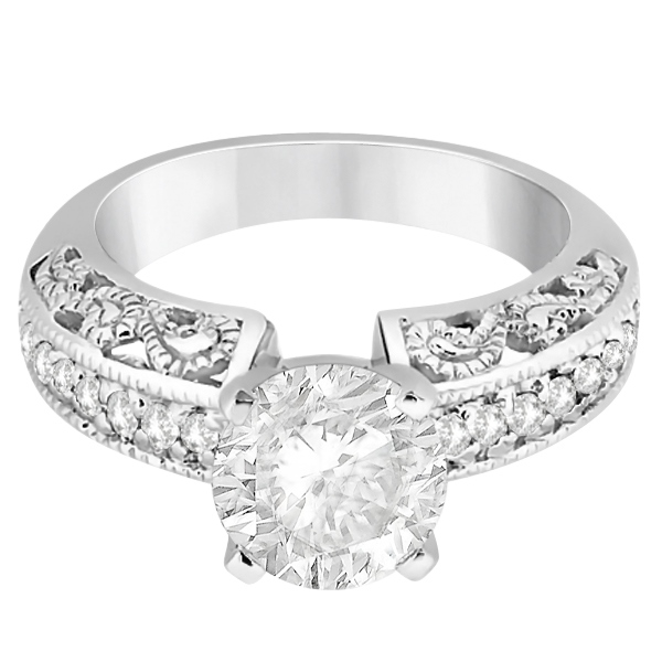 Vintage Filigree Diamond Engagement Ring 14K White Gold (0.32ct)