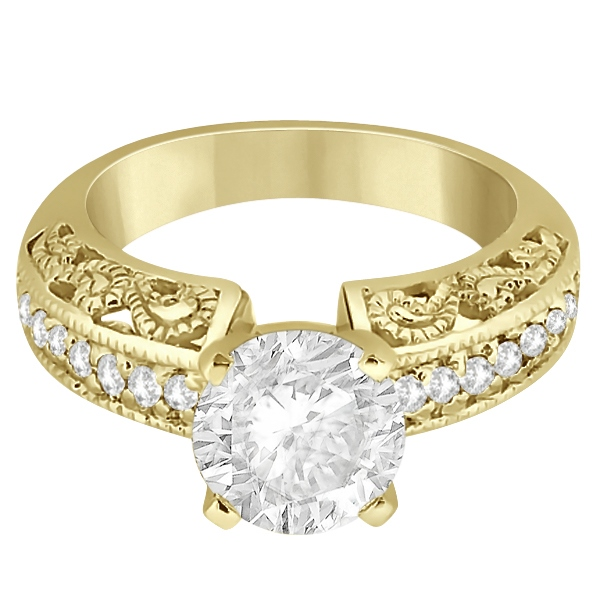 Vintage Filigree Diamond Engagement Ring 14K Yellow Gold (0.32ct)