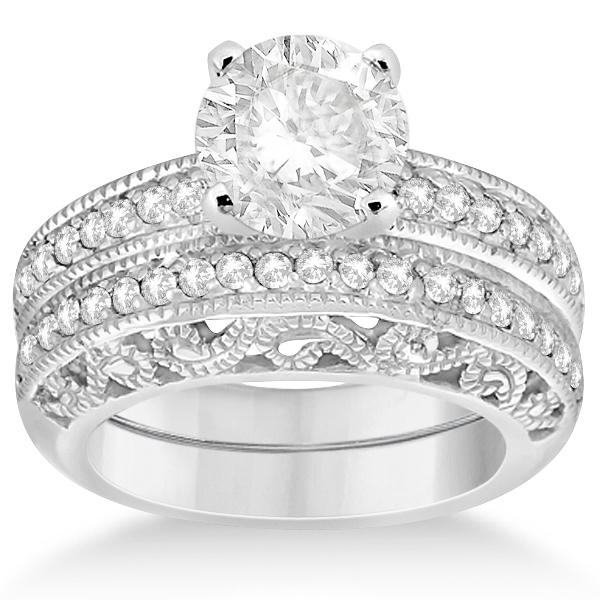 Vintage Filigree Diamond Bridal Ring Set Palladium (0.64ct)