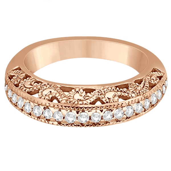 Vintage Filigree Diamond Wedding Ring 14K Rose Gold (0.32ct)