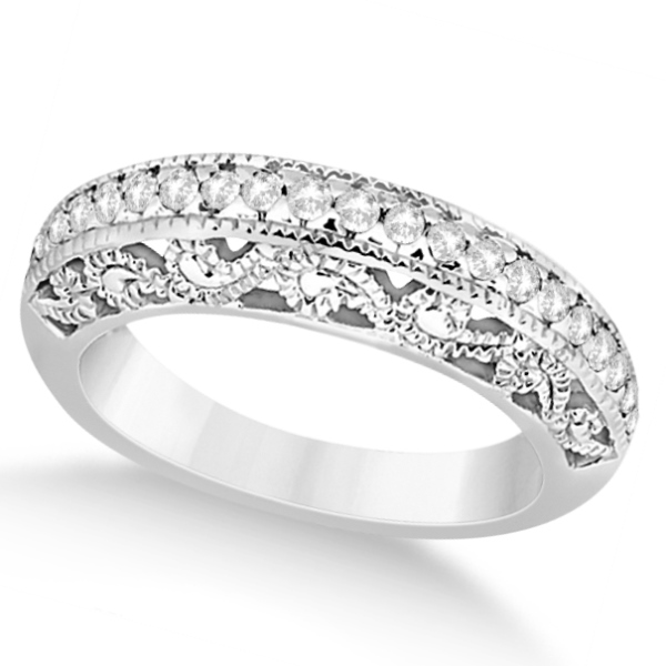 Vintage Filigree Diamond Wedding Ring 14K White Gold (0.32ct)