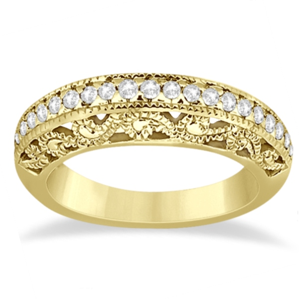 Vintage Filigree Diamond Wedding Ring 14K Yellow Gold (0.32ct)