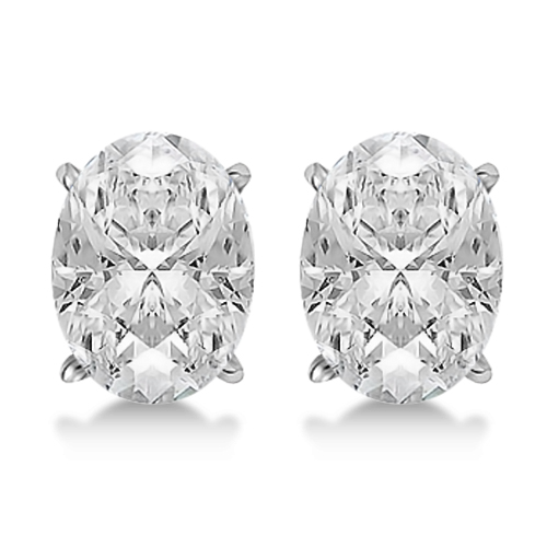 0.50ct. Oval-Cut Diamond Stud Earrings 14kt White Gold (H, SI1-SI2)