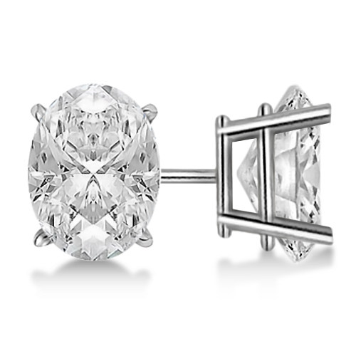 1.00ct. Oval-Cut Diamond Stud Earrings Platinum (H, SI1-SI2)