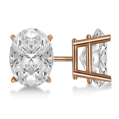 2.00ct. Oval-Cut Diamond Stud Earrings 14kt Rose Gold (G-H, VS2-SI1)
