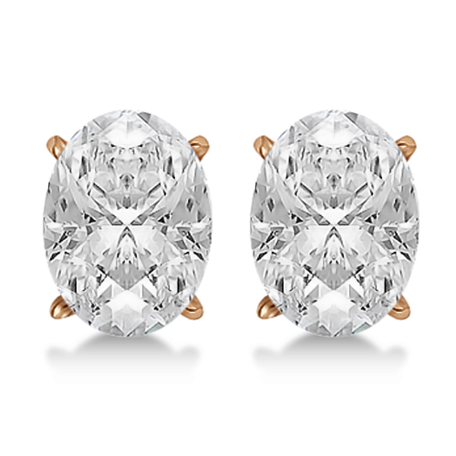 0.50ct. Oval-Cut Diamond Stud Earrings 14kt Rose Gold (G-H, VS2-SI1)