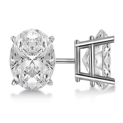 Oval Cut Diamond Stud Earrings 14kt White Gold G H Vs2