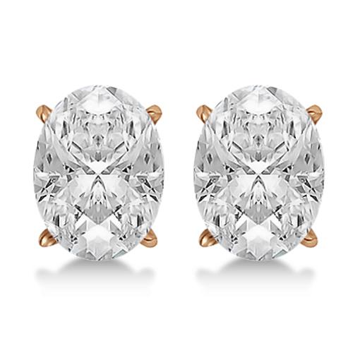 1.00ct. Oval-Cut Diamond Stud Earrings 18kt Rose Gold (G-H, VS2-SI1)