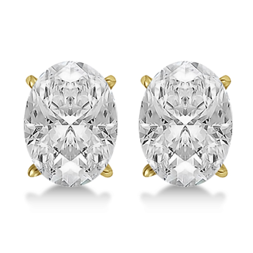 Oval Cut Diamond Stud Earrings 18kt Yellow Gold G H Vs2