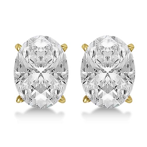 0.75ct. Oval-Cut Diamond Stud Earrings 18kt Yellow Gold (G-H, VS2-SI1)