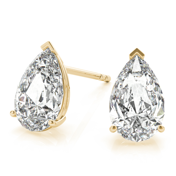 1.00ct Pear-Cut Lab Grown Diamond Stud Earrings 14kt Yellow Gold (G-H, VS2-SI1)