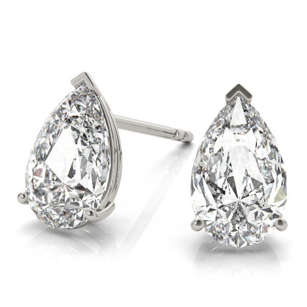 1.00ct Pear-Cut Lab Grown Diamond Stud Earrings 18kt White Gold (G-H, VS2-SI1)