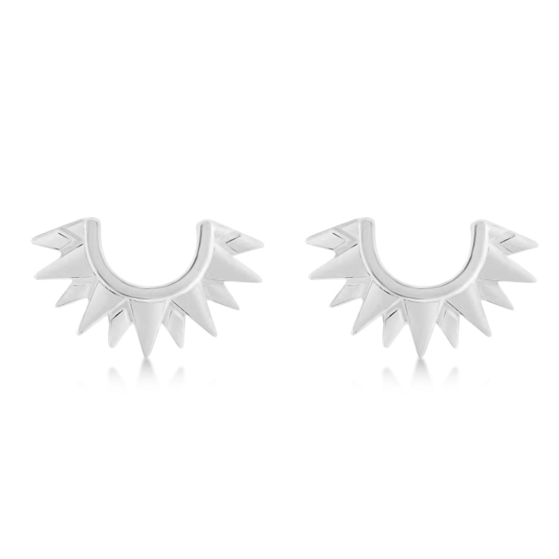 Sunburst Shaped Stud Earrings 14k White Gold