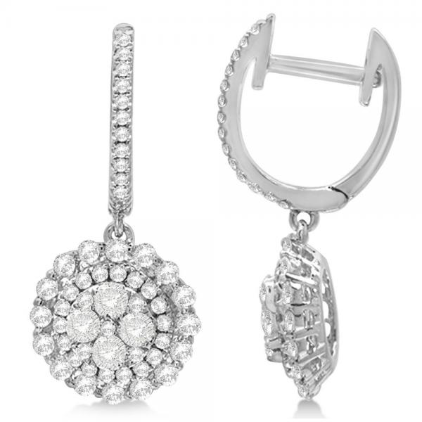Diamond Accenteed Cluster Fashion Earrings in 18k White Gold (1.22ct)