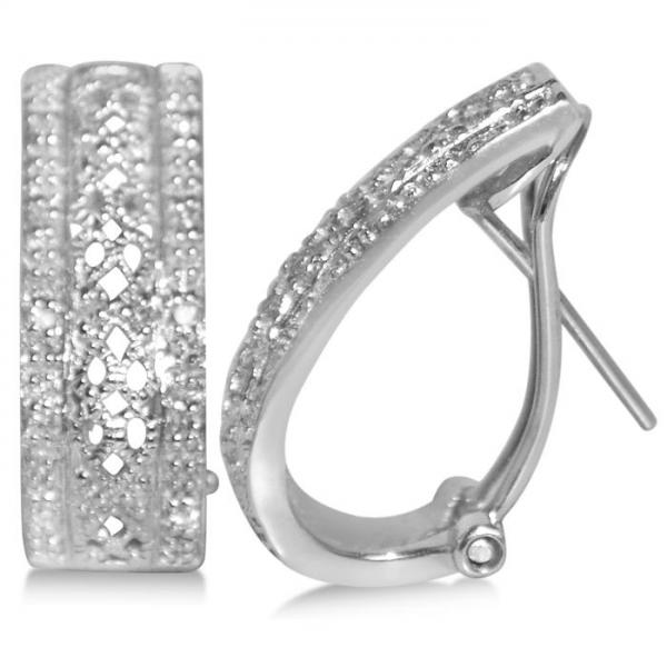 Diamond Accented Huggie Earrings in 14k White Gold (0.44ct)