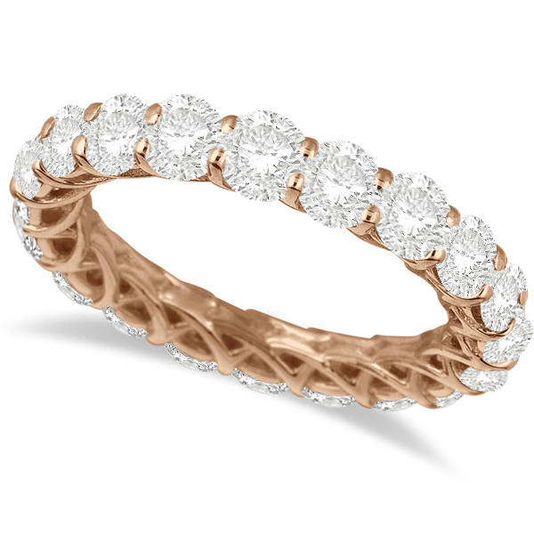 Luxury Diamond Eternity Anniversary Ring Band 14k Rose Gold (4.50ct)