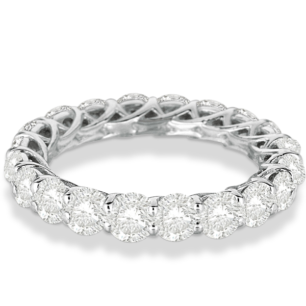 Luxury Diamond Eternity Anniversary Ring Band 14k White Gold (4.50ct)