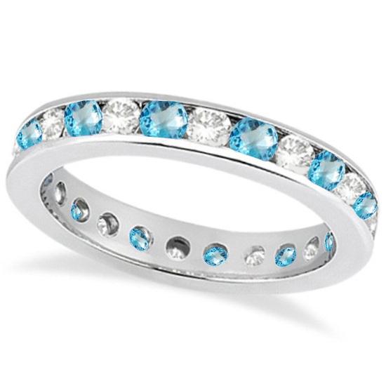 Channel-Set Blue Topaz & Diamond Eternity Ring 14k White Gold (1.50ct)