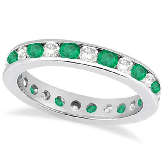 channel set emerald eternity ring 14k white gold