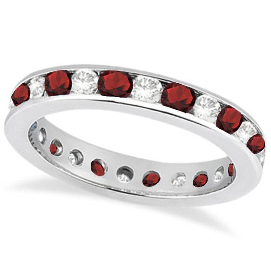 Channel-Set Garnet & Diamond Eternity Ring 14k White Gold (1.50ct)