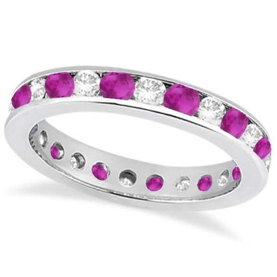 Channel-Set Pink Sapphire & Diamond Eternity Ring 14k White Gold (1.50ct)
