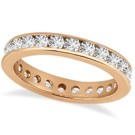 Channel-Set Diamond Eternity Ring Band 14k Rose Gold (1.50 ct)