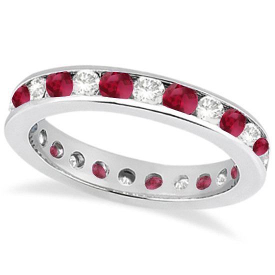 Channel-Set Ruby & Diamond Eternity Ring 14k White Gold (1.50ct)