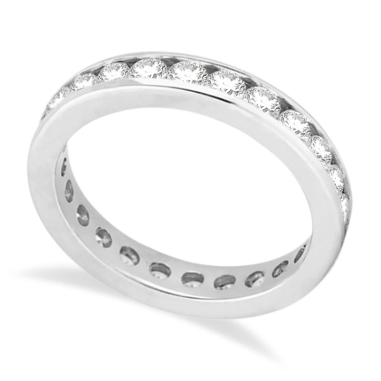 Channel-Set Diamond Eternity Ring Band in Palladium (1.75 ct)