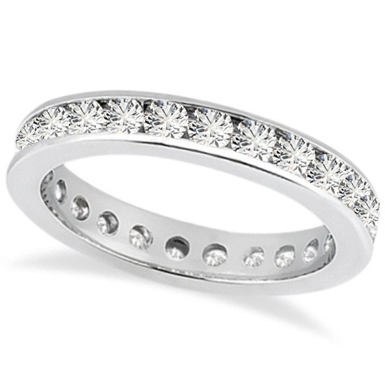 Channel Set Diamond Eternity Ring Band 14k White Gold (1.75 ct)