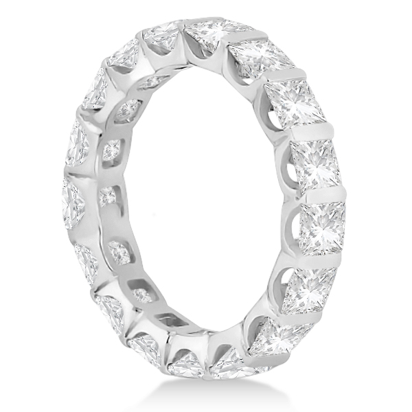 Bar-Set Princess Cut Diamond Eternity Ring Band 14k White Gold (1.15ct)