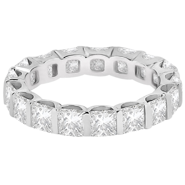 Bar-Set Princess Cut Diamond Eternity Ring Band Platinum (1.15ct)